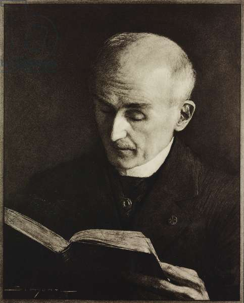 Portrait of Henri Bergson (1859-1941), French philosopher, 1927 Nobel Prize in Literature, reading book, illustration from drawing by J Simont, from magazine L'Illustration, year 72, no 3698, January 10, 1914