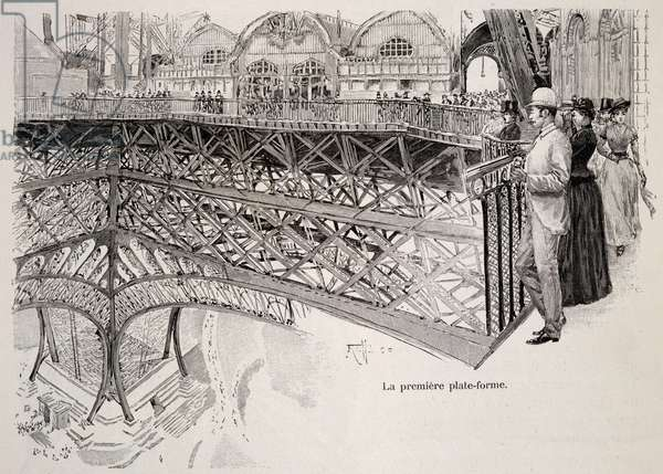 Climbing Eiffel Tower,  first platform, July 1889, Universal Exhibition in Paris, France, 19th century