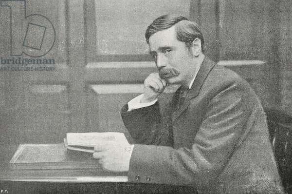 Herbert George Wells (1866-1946), British writer, photograph by Federico Hollyer, from L'Illustrazione Italiana, Year XXXIII, No 44, November 4, 1906