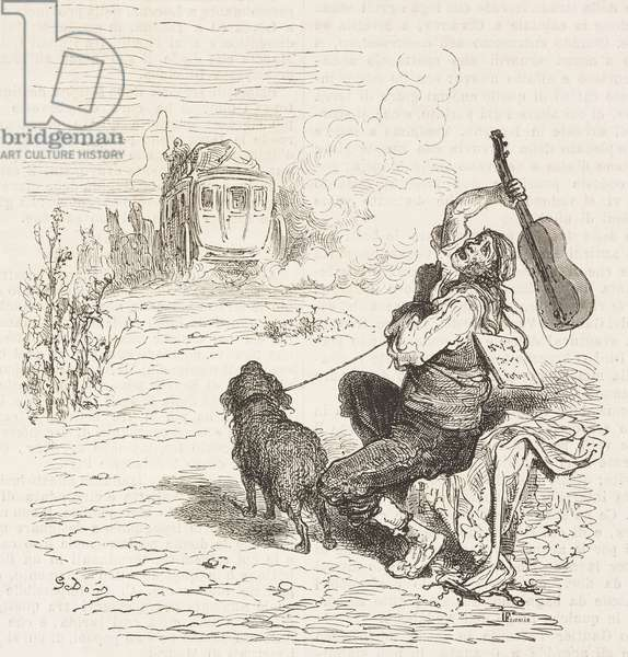 Blind guitar player distraught after missing carriage, Castile-La Mancha, Spain, drawing by Dore, from Travels in Spain by Gustave Dore (1832-1883) and Jean Charles Davillier (1823-1883)