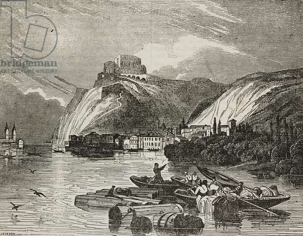 View of Ehrenbreitstein Fortress before reconstruction, Koblenz, Germany, illustration from Teatro universale, Raccolta enciclopedica e scenografica, No 127, December 3, 1836