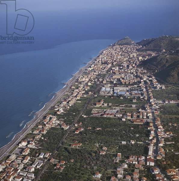 Aerial view of buildings along the coast, Capo d'Orlando, Province of Messina, Sicily, Italy (photo)
