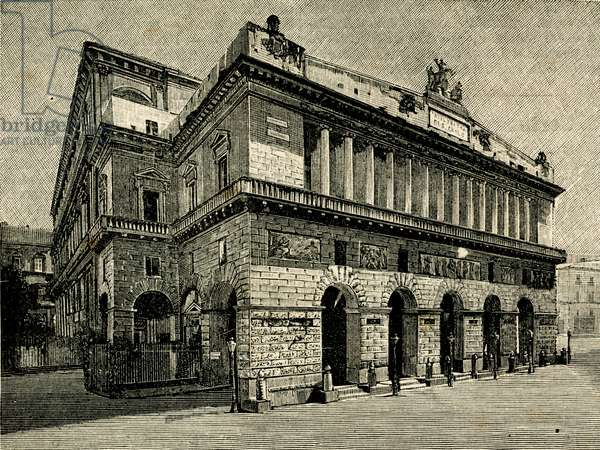 Teatro di San Carlo (Theatre of Saint Charles), Naples, Campania, Italy, woodcut from Le cento citta d'Italia (Hundred Italian towns), illustrated monthly Supplement of Il Secolo, Milan, April 20, 1887, year 22