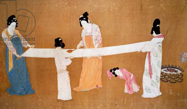 Ladies preparing the newly woven silk, painting attributed to Emperor Hui-Tsung, Song Dynasty, China, 11th-12th century