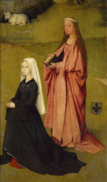 The Principal Agnes Bosshuyse and St Agnes, detail from Adoration of the Magi, by Hieronymus Bosch, 1510, oil on canvas, Circa 1450-1516, 138x144 cm