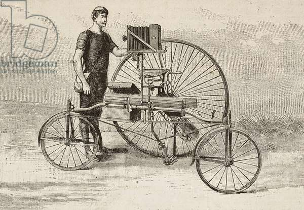 A velocipede equipped with a camera, engraving from L'Illustrazione Italiana, year 12, no 34, August 23, 1885