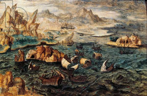 Landscape with stormy sea, by Herri met de Bles (ca 1510-died after 1550), oil on panel, 29, 5x43 cm 16th century