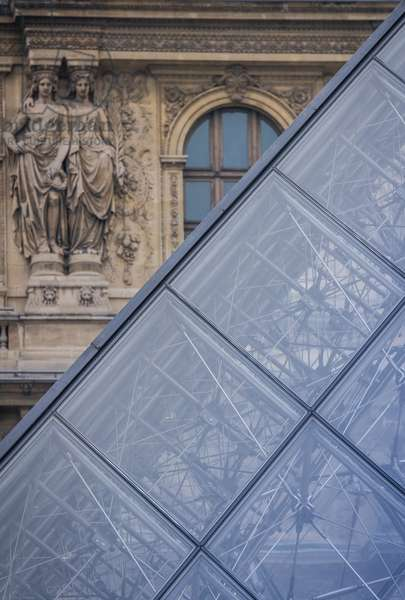 Glimpse of the Louvre pyramid, Paris, France (photo)