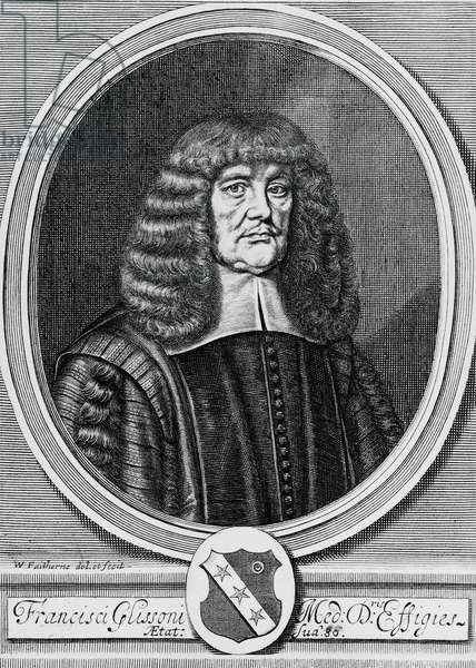 Portrait of Francis Glisson (1597-1677), British physicist, anatomist and physician, engraving