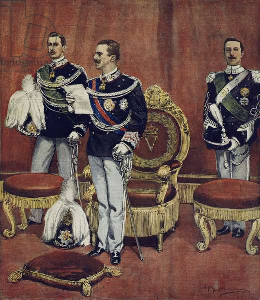 The swearing in of King Vittorio Emanuele III in Senate Chambers in Rome, by Achille Beltrame (1871-1945), from La Domenica del Corriere, 19th August 1900