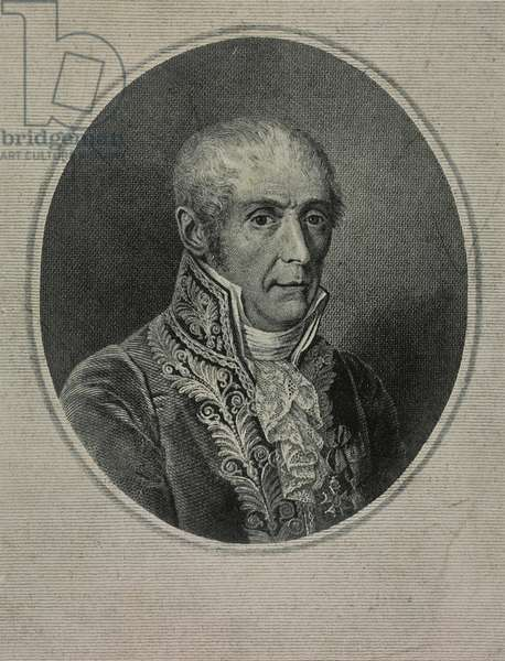 Portrait of Alessandro Volta (1745-1827), Italian engineer and physicist, inventor of the battery, engraving