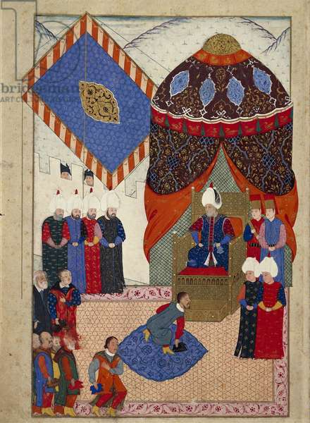 The Reception of the Hungarian Crown Prince, Zsigismond Janos by Suleyman I on 29th June, 1566, 1568-69 (vellum)