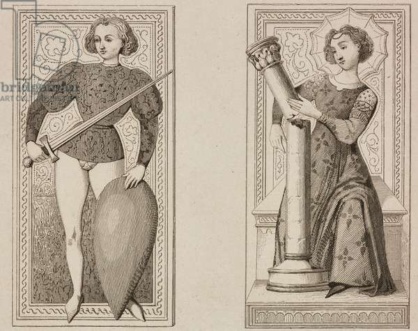 Tarots cards made by Jacquemin Gringonneur for King Charles VI of France, engraving by Lemaitre from France, deuxieme partie, L'Univers pittoresque, published by Firmin Didot Freres, Paris, 1845