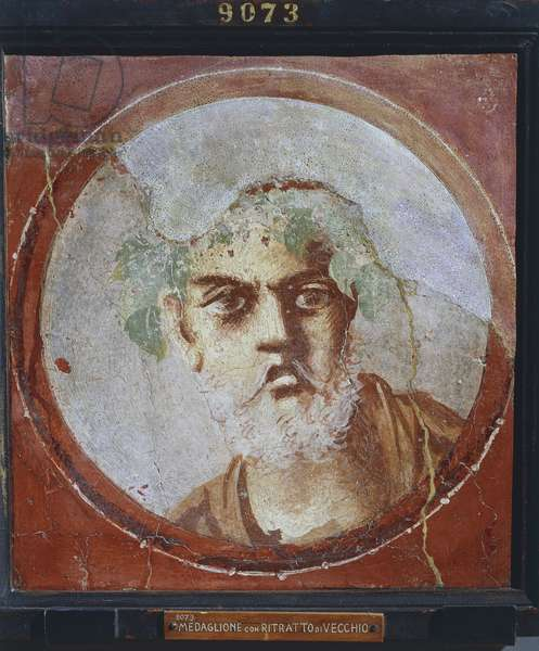 Portrait of an old man (probably a poet or a philosopher) from Italy, Campania, Pompeii, painting on plaster, 55-79 A.D.