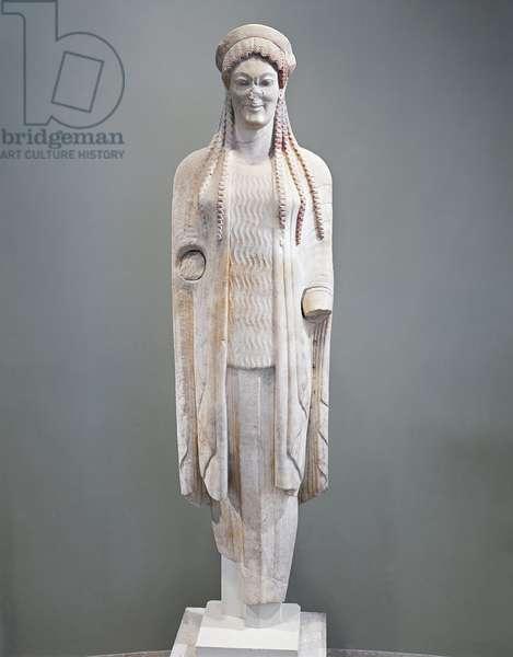 Greek civilization, statue of Kore, circa 520 B.C.