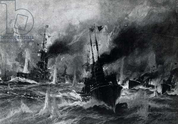 German torpedo boats attacking English fleet, May 31, 1916, Battle of Jutland, illustration from Leipzig Illustrated Magazine, Leipzig, First World War, Germany, 20th century