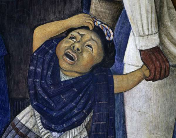 Farmer's daughter frightened by the gendarme, detail from Dream of a Sunday afternoon in Alameda Central Park, 1946-1947, by Diego Rivera (1886-1957), fresco from the Hotel del Prado, Mexico City, Mexico, 20th century