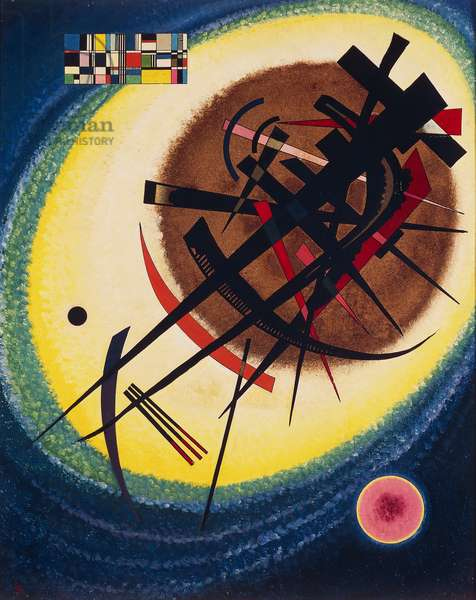 In a bright oval, 1925, by Wassily Kandinsky (1866-1944), oil on cardboard, 73x59 cm. Russia, 20th century.