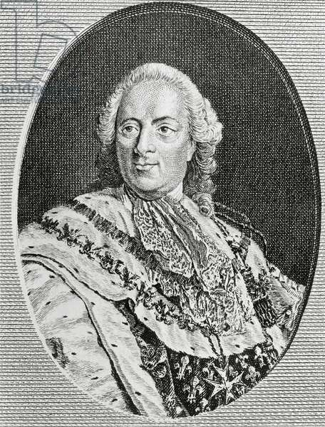 Portrait of Louis XV (1710-1774), known as Louis Beloved, King of France, engraving by Jean-Baptiste Fosseyeux (1752-1824)