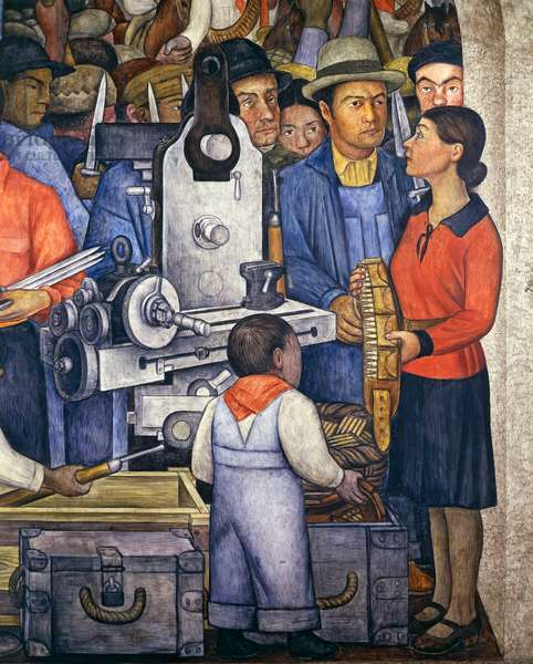 The arsenal, by Diego Rivera (1886-1957), detail from the Ministry of Education frescoes (1923-1928), Mexico City. Mexico, 20th century.