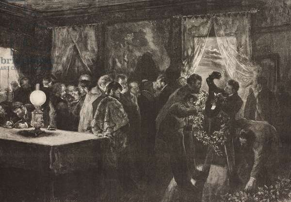 Artists and friends of Mariano Fortuny (1838-1874) composing laurel crowns, drawing by Jose Jimenez Aranda, illustration from La Ilustracion Espanola y Americana magazine, Year 19, Number 43, November 22, 1875