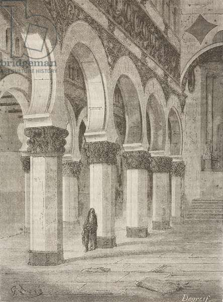 Ancient Synagogue of St Mary White, Toledo, Castile-La Mancha, Spain, drawing by Dore, from Travels in Spain by Gustave Dore (1832-1883) and Jean Charles Davillier (1823-1883)
