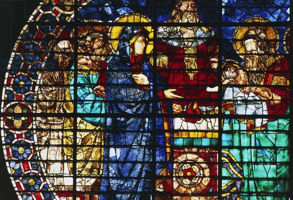 Presentation of Jesus in Temple (1445), stained glass of Bernardo di Francesco, Florence Cathedral (Santa Maria del Fiore), Florence (UNESCO World Heritage Site, 1982), Tuscany, Italy