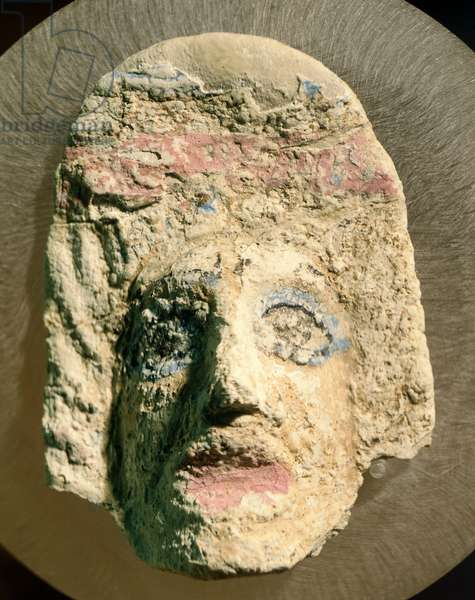 Tragic mask forming part of decoration of sarcophagus from Kherson, Ukraine, Greek civilization, 2nd Century BC