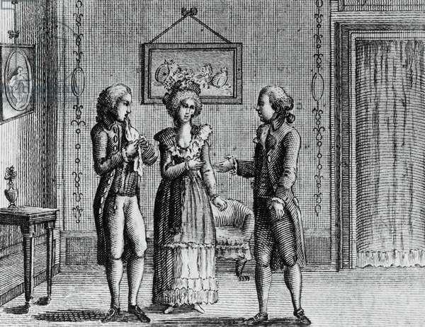 Illustration for lovers, comedy by Carlo Goldoni (1707-1793), engraving, from Opere teatrali del sig avvocato Carlo Goldoni veneziano, published by Antonio Zatta e figli, 1789, Venice