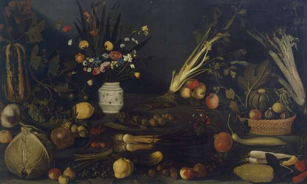 Still life of flowers and plants