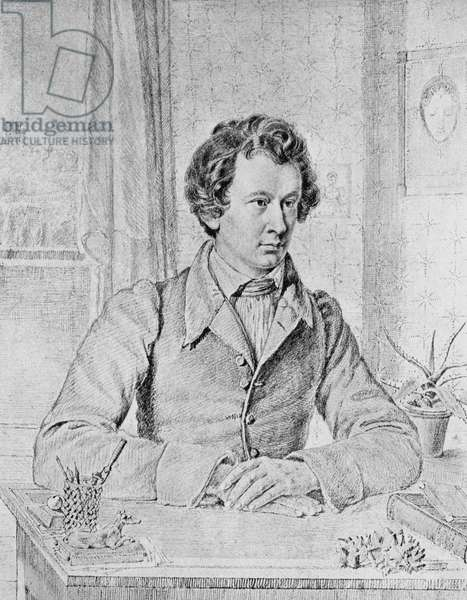 Portrait of Wilhelm Grimm (1786-1859), German philologist and writer, pencil drawing by Jacob Grimm (1785-1863), 1822