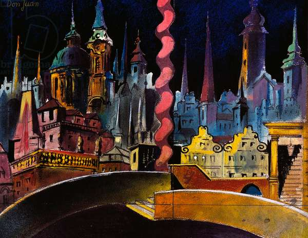 Scenography by Vaclav Pavlin for Don Giovanni by Wolfgang Amadeus Mozart, 1929, Prague National Theatre, 20th century