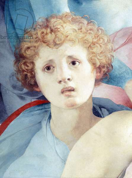 Face of young man, detail of The Deposition, by Jacopo da Pontormo (1494-1557)