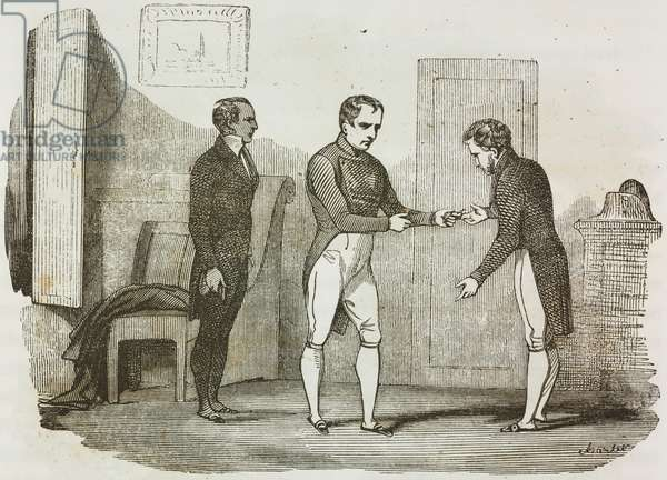 Napoleon Bonaparte gifting spurs used during Battle of Dresden to Las Cases, St Helena Island, 10 January 1816, illustration from first Italian edition of Memorial of Saint Helena, Volume 1, 1842
