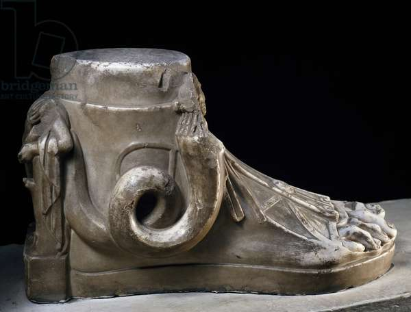 Votive foot, figures of Serapis and Isis in shape of serpent with human head and figure of Harpocrates on heel, marble, height 43 cm, from Cesareo of Alexandria, Egyptian Civilization, Roman Empire