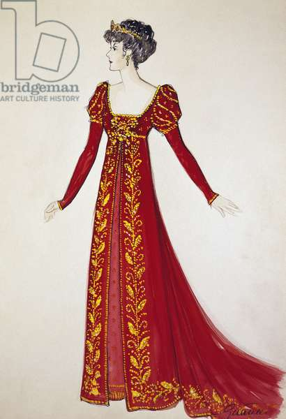 Costume sketch by G Metelli for role of Tosca in second act of homonymous opera by Giacomo Puccini (1858-1924), performed at San Carlo Theatre in Naples