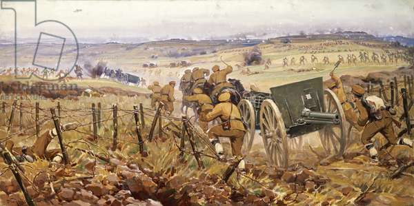 Fall of Adrianople, Bulgarians continue to advance towards the Ajvaz baba Fort. First Balkan War, Turkey, 20th century.