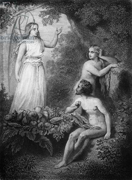 Archangel Raphael with Adam and Eve, illustration for Paradise Lost, epic poem by John Milton (1608-1674), engraving by Ferdinand Delannoy (1822-1887) after drawing by Pierre Gustave Eugene Staal (1817-1882)