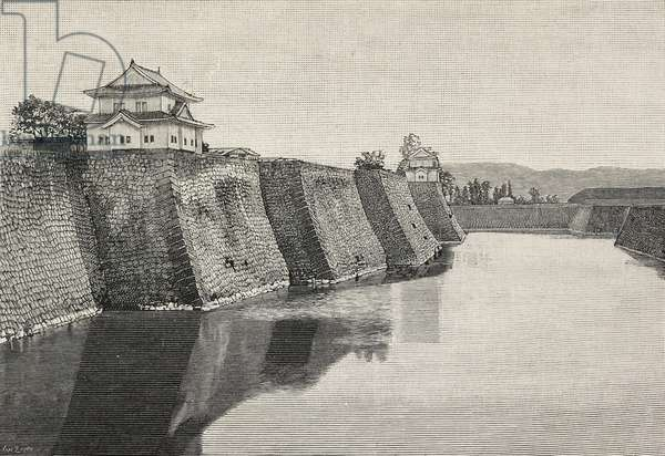 Osaka castle, Japan, photograph by G de Riseis, from L'Illustrazione Italiana, Year XXII, No 10, March 10, 1895