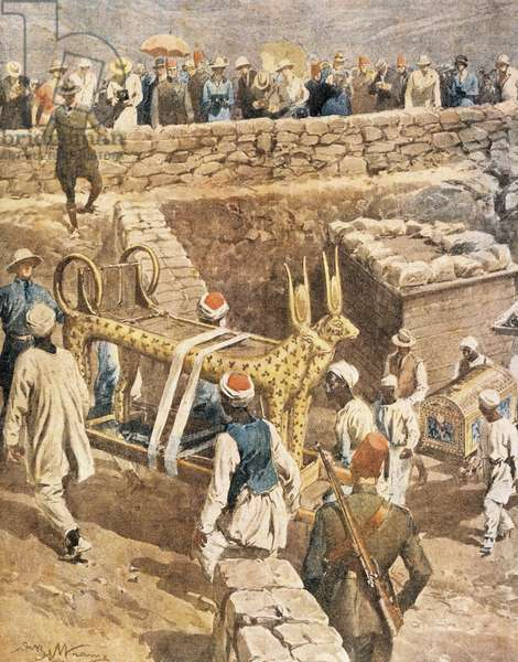 The discovery of the tomb of Tutankhamen by Achille Beltrame (1871-1945), illustration, 1923