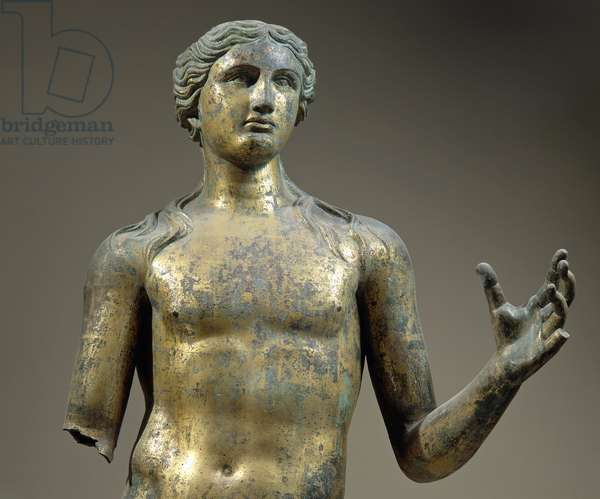Detail of bust of gilded bronze statue of Apollo, artifact uncovered in Lillebonne, France, Roman Civilization, 2nd century