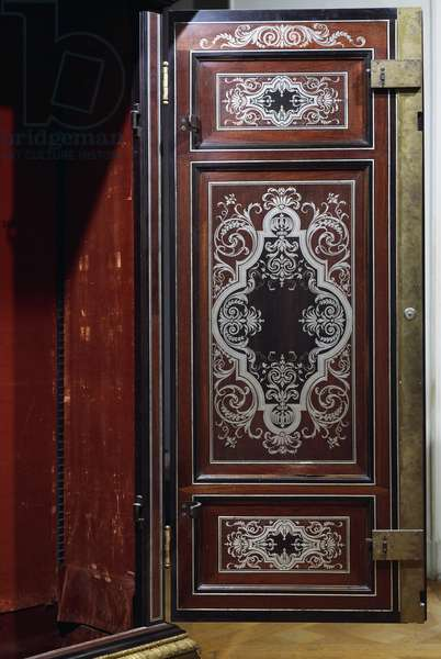 Ebony cabinet attributed to Andre-Charles Boulle (1642-1732), door open. France, 17th-18th century