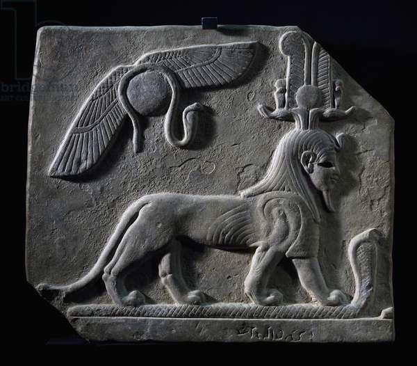 The God Tutu trampling cobra, limestone, Egyptian civilization, Ptolemaic Period, 4th-3rd century BC