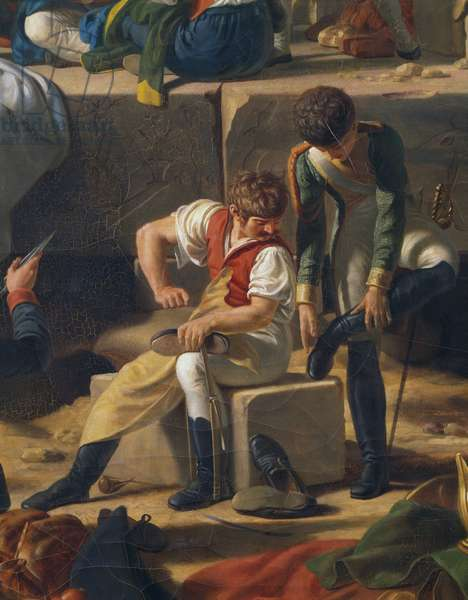 Soldier repairing his boots, from Stop of French Army in Syene, Aswan, February 2, 1799, campaign of Egypt, Napoleonic Wars, painting by Jean-Charles Tardieu, oil on canvas, 112x164 cm