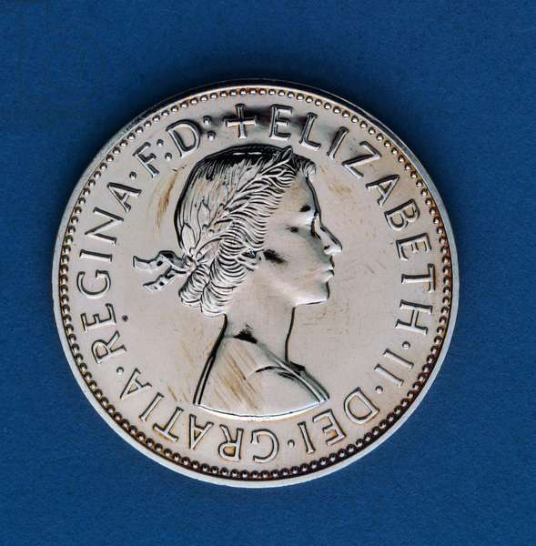 1 penny coin, 1970, obverse, queen Elizabeth II (1926-), United Kingdom, 20th century