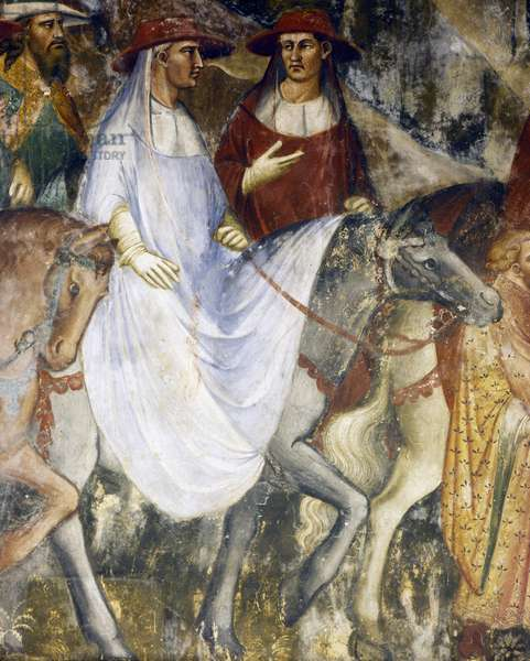 Pope Alexander III's triumphal ride into Rome, scene from Stories of Alexander III, 1407-1408, by Spinello Aretino (ca 1350-1410), fresco, Priory Room, Public Palace, Siena (UNESCO World Heritage List, 1995), Tuscany. Detail. Italy, 15th century.