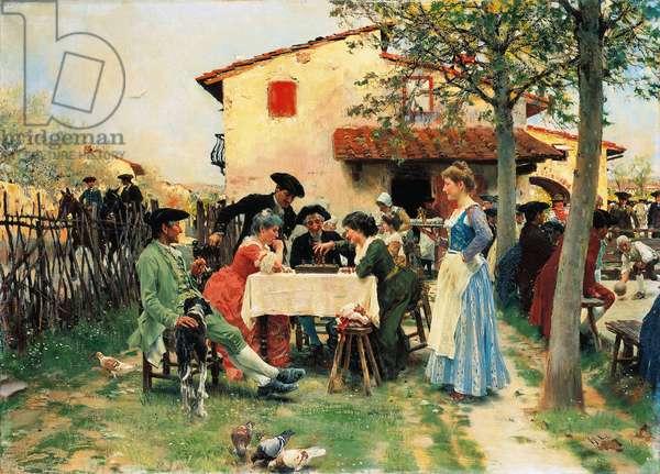 The country inn, 1908, by Raffaello Sorbi (1844-1931), oil on canvas, 62x85 cm