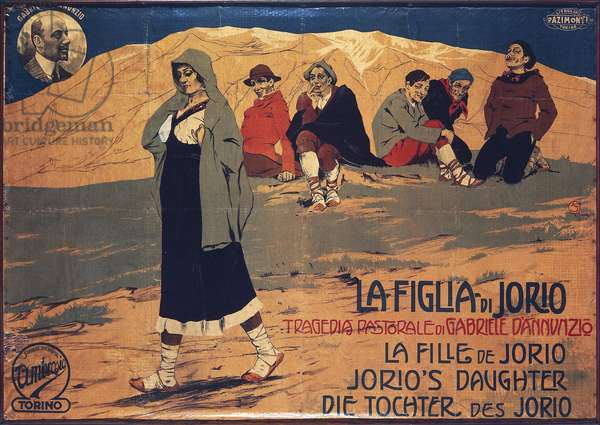 """Poster for """"La figlia di Iorio"""" (Jorio's Daughter), pastoral tragedy by Gabriele D'Annunzio"""