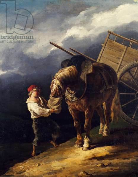 Stable boy giving a horse oats, 1821-1824 (oil on canvas)