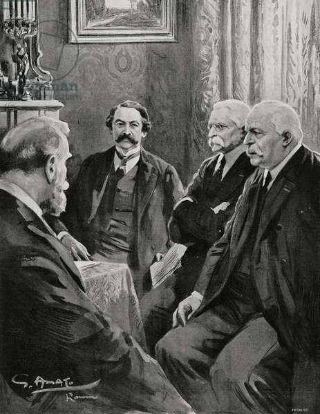 Ministers Leon Bourgeois (1851-1925), Aristide Briand (1862-1932), Sidney Sonnino (1847-1922) and Antonio Salandra (1853-1931), Italo-French Conference of February 11, 1916, Rome, Italy, drawing by Gennaro d'Amato (1857-1947)